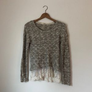 Gray / Lace Light Fall Sweater